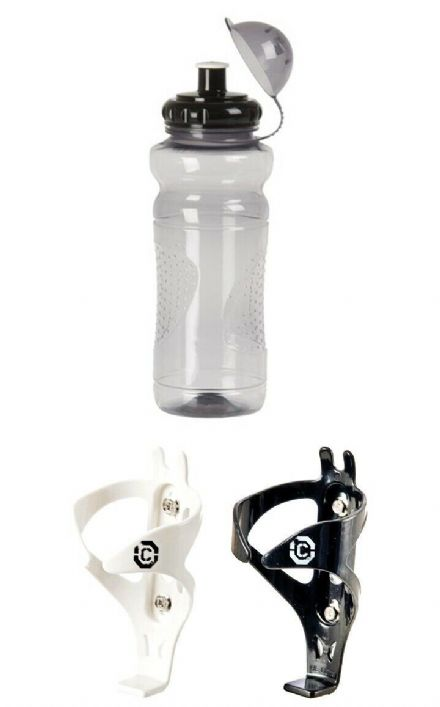 Bike Water / Cycle Drinks Bottle with Cap 700ml Transparent Black + Clarks Cage